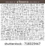 vector set with hand drawn... | Shutterstock .eps vector #718325467