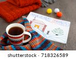 a mug of tea and a picture... | Shutterstock . vector #718326589