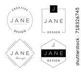 set of personal logo templates. ... | Shutterstock .eps vector #718326745