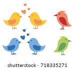 set of cute colorful birds.... | Shutterstock .eps vector #718335271