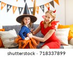 family mother and child girl... | Shutterstock . vector #718337899