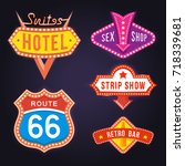 set of retro neon sign board ... | Shutterstock .eps vector #718339681