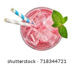 glass of pink soda drink with... | Shutterstock . vector #718344721
