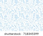 hand drawn winter seamless... | Shutterstock .eps vector #718345399