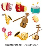 cartoon musical instrument  icon | Shutterstock .eps vector #71834707