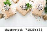 christmas handmade gift boxes...   Shutterstock . vector #718356655