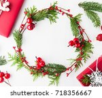 frame with christmas wreath ... | Shutterstock . vector #718356667