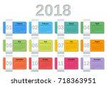 calendar 2018 year. week starts ... | Shutterstock .eps vector #718363951