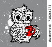 cute owl vector owl cartoon... | Shutterstock .eps vector #718366375