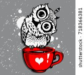 cute owl vector owl cartoon... | Shutterstock .eps vector #718366381