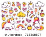 cute unicorns with magic... | Shutterstock .eps vector #718368877