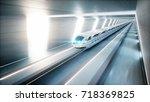 futuristic modern train ... | Shutterstock . vector #718369825