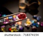 jewel or gems on black shine... | Shutterstock . vector #718374154