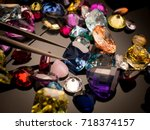 jewel or gems on black shine... | Shutterstock . vector #718374157