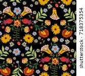 embroidery ethnic seamless...   Shutterstock .eps vector #718375354