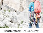 Female Mountaineer With Trad...