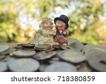 couple porcupine resin doll in... | Shutterstock . vector #718380859