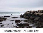 an overcast shot of rocks and... | Shutterstock . vector #718381129