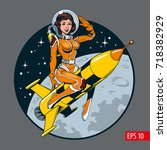 a vintage comic style sexy... | Shutterstock .eps vector #718382929
