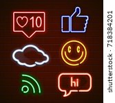 set of emoticons  glowing... | Shutterstock .eps vector #718384201
