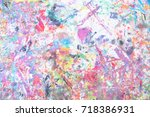 grunge acrylic hand painted on... | Shutterstock . vector #718386931