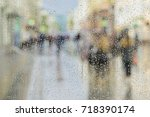 raindrops on window glass ... | Shutterstock . vector #718390174