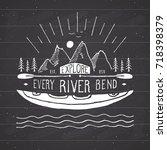 kayak and canoe vintage label ... | Shutterstock .eps vector #718398379