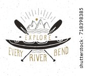 kayak and canoe vintage label ... | Shutterstock .eps vector #718398385
