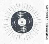 vinyl record vintage label ... | Shutterstock .eps vector #718398391