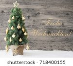 golden decorated tree  frohe... | Shutterstock . vector #718400155