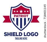 patriot shield logo template | Shutterstock .eps vector #718401145