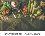 fall cooking background.... | Shutterstock . vector #718401601