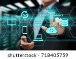 web development coding... | Shutterstock . vector #718405759