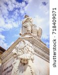 Small photo of May 2017, Florence, Italy - Piazza Santa Croce Dante Statue