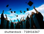 group of graduates with... | Shutterstock . vector #718416367
