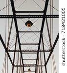 evening walk across the bridge...   Shutterstock . vector #718421005