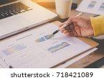 business woman  in open space... | Shutterstock . vector #718421089
