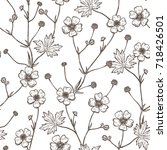 Summer Flowers Vector Seamless Pattern. Hand drawn Sketch Buttercups. Wildflowers Floral Background