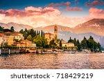 lake como  varenna  italy.... | Shutterstock . vector #718429219