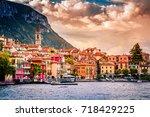 lake como  varenna  italy.... | Shutterstock . vector #718429225