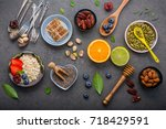 ingredients for the healthy... | Shutterstock . vector #718429591
