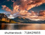 lake como  italy. people on a... | Shutterstock . vector #718429855