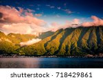 lake como  italy. people on a... | Shutterstock . vector #718429861