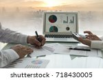 business analyst team checking... | Shutterstock . vector #718430005