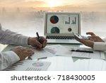 business analyst team checking... | Shutterstock . vector #718430005