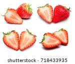 a set of fresh strawberry... | Shutterstock . vector #718433935