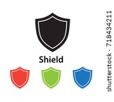 shield icon vector illustration. | Shutterstock .eps vector #718434211