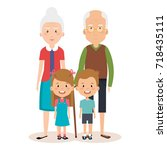 grandparents couple with... | Shutterstock .eps vector #718435111