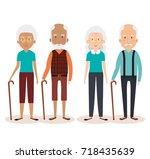 grandparents group avatars... | Shutterstock .eps vector #718435639