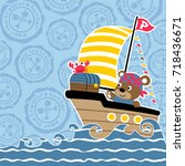 animals pirate on sailboat with ... | Shutterstock .eps vector #718436671